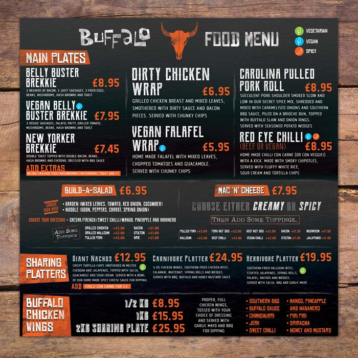 Buffalo Bar menu